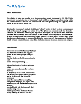 The Holy Qur'an AP Primary Document Excerpt