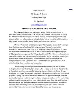 AP English 11 Syllabus (NC Standards) Lanuage