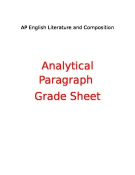 AP English Analysis Paragraph Grade Sheet