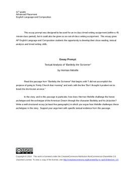english essay prompt textual analysis of bartleby the scrivener ap english essay prompt textual analysis of bartleby the scrivener