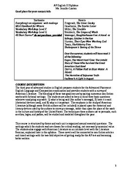 AP English III Syllabus-Language and Composition