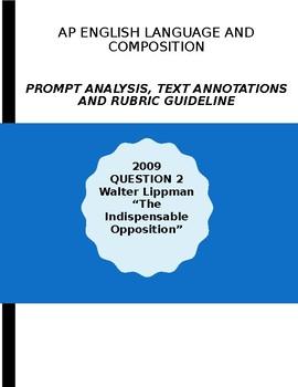 AP English Lang 2009 Prompt Explanation, Text Analysis, Rubric - Walter Lippman