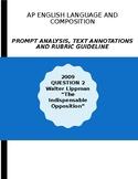 AP English Lang 2009 Prompt Explanation, Text Analysis, Ru