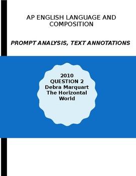 AP English Lang 2010 Prompt Explanation, Text Analysis - Debra Marquart