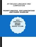 AP English Lang 2014 Prompt Explanation, Text Analysis, Rubric - Abigail Adams