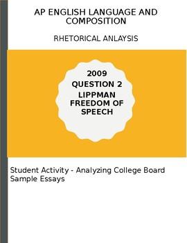 AP English Language 2009 Lippman Essay Analysis Activity