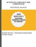 AP English Language 2006 Fridman Nerd Essay Analysis Activity