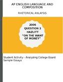 AP English Language 2006 Hazlitt Essay Analysis Activity