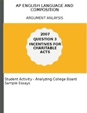 AP English Language 2007 Quest 3 Incentives for Charity Essay Analysis Activity