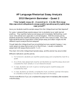 AP English Language 2010 Banneker Essay Activity - Analyzing Models
