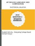 AP English Language 2010 Banneker Essay Activity - Analyzi