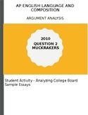 AP English Language 2010 Muckrakers Argument Essay Analysi