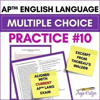 AP English Language (AP Language AP Lang) Multiple Choice Mini Practice Set #10