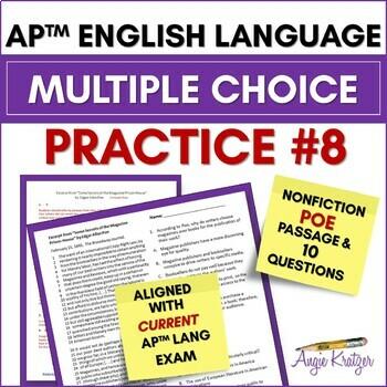 AP English Language (AP Language AP Lang) Multiple Choice Mini Practice Set #8