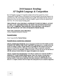 AP English Language & Composition Summer Reading Project O