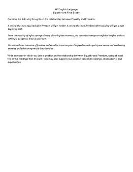 AP English Language Equality Unit Final Essay
