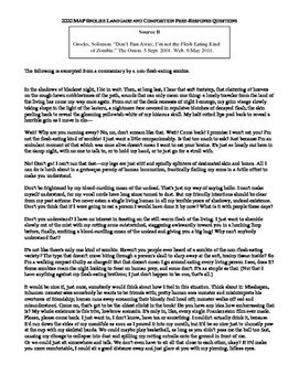 AP English Language - Free Response Question - Zombie Theme