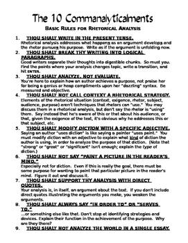 AP English Language Rhetorical Analysis Commandments