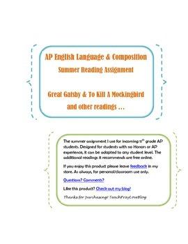 AP English Language Summer Assignment -Gatsby & To Kill a Mockingbird