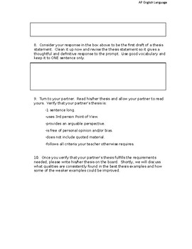 AP English Language - Thesis Writing Practice - Argument Essay
