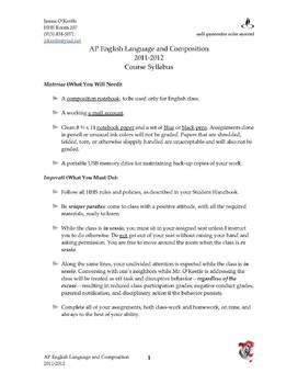 AP English Language and Composition Course Syllabus
