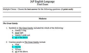 AP English Language and Composition with American Literature Final Exams