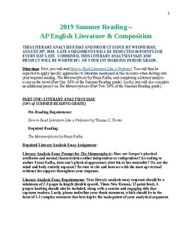 AP English Literature & Composition Summer Reading Project Options and Rubrics