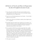 AP English Literature - Form to Review Novels and Plays for Exam