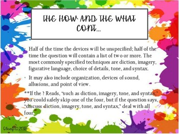 AP English Literature Free Response Questions PowerPoint