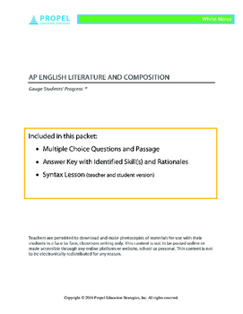 AP English Literature: Multiple Choice Questions and Syntax Lesson