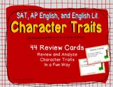 AP English, SAT Reading, English Literature: Character Traits Review Cards