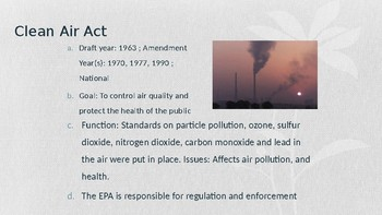 AP Environmental Most Important Laws-What You Need To Know for the AP Exam!!