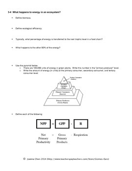 AP Environmental Sci Reading Guide Ch 3 Ecosystems (Miller)