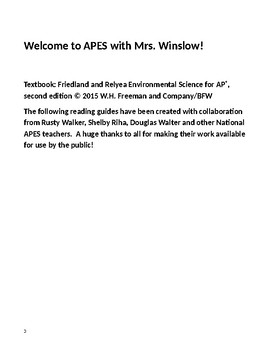 AP Environmental Science 2017-2018 Reading Guides
