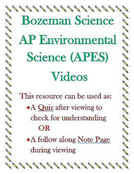 AP Environmental Science APES Bozeman Science Video Quiz #001