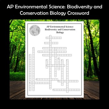 AP Environmental Science Biodiversity and Conservation Biology Crossword Puzzle