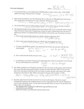 AP Environmental Science WATER calculations