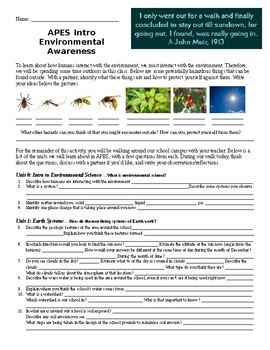 AP Environmental Science Intro Outdoor Activity. Perfect for Day 1 or Week 1