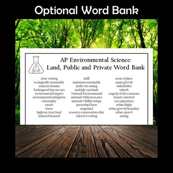 AP Environmental Science Land, Public and Private Crossword Puzzle