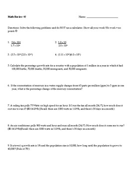 AP Environmental Science Math Review