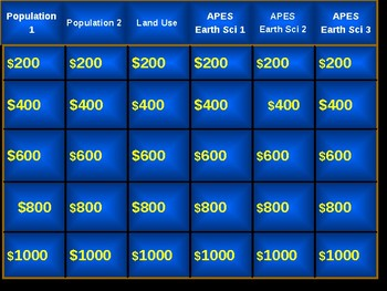 AP Environmental Science MidTerm Review Jeopardy