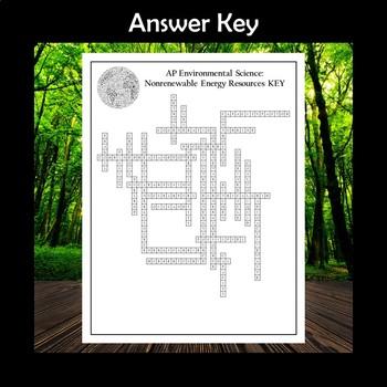 AP Environmental Science Nonrenewable Energy Resources Crossword Puzzle