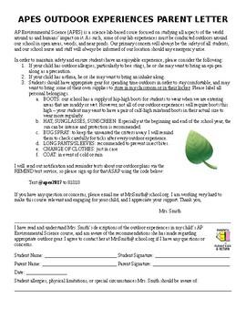 AP Environmental Science Outdoor Parent Consent/Permission Letter