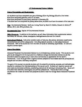AP Environmental Science Outline