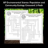 AP Environmental Science Population and Community Ecology Crossword Puzzles