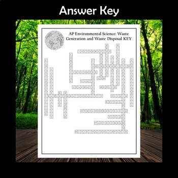 AP Environmental Science Waste Generation and Waste Disposal Crossword Puzzle