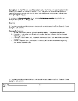 AP Euro - Short Answer Question Introduction, Example, and Graphic Organizers