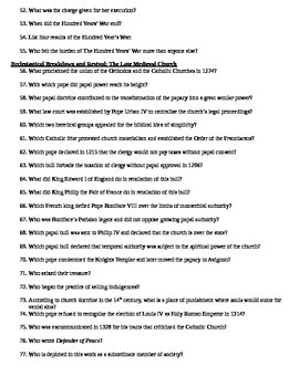 AP European History 14th Century Study Guide With Answer Key