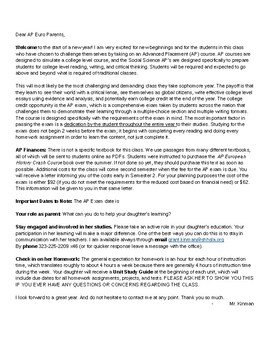 AP European History - Beg. of the Year Parent Letter (Spanish too) & Syllabi