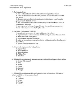 AP European History:  Imperialism Exam